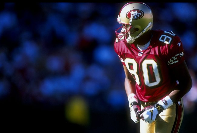 18 Oct 1998:  Wide receiver Jerry Rice #80 of the San Francisco 49ers in action during a game against the Indianapolis Colts at the 3Com Park in San Francisco, California. The 49ers defeated the Colts 34-31.