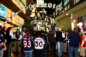 COLUMBUS,OH - October 15:  Columbus Blue Jackets fans stream into Nationwide Arena prior to the start of the Blue Jackets home opener against the Chicago Blackhawks on October 15, 2010 at Nationwide Arena in Columbus, Ohio.  This season marks the 10th sea