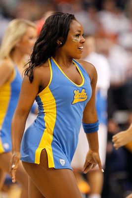 TAMPA, FL - MARCH 17:  A cheerleader from the UCLA Bruins performs against the Michigan State Spartans during the second round of the 2011 NCAA men's basketball tournament at St. Pete Times Forum on March 17, 2011 in Tampa, Florida.  (Photo by J. Meric/Ge