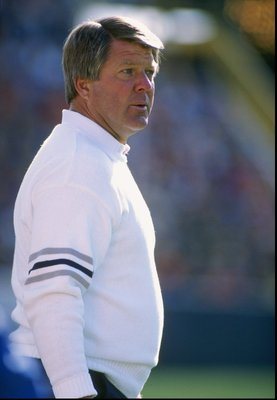 8 Oct 1989:  Head coach Jimmy Johnson of the Dallas Cowboys looks on during a game against the Green Bay Packers at Lambeau Field in Green Bay, Wisconsin.  The Packers won the game, 31-13. Mandatory Credit: Jonathan Daniel  /Allsport