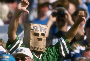 13 Oct 1996:  A fan of the New York Jets shows his disapproval with the Jets management and season as he looks on during a play in the Jets 21-17 loss to the Jaguars at Jacksonville Stadium in Jacksonville, Florida.  Mandatory Credit: Andy Lyons  /Allspor