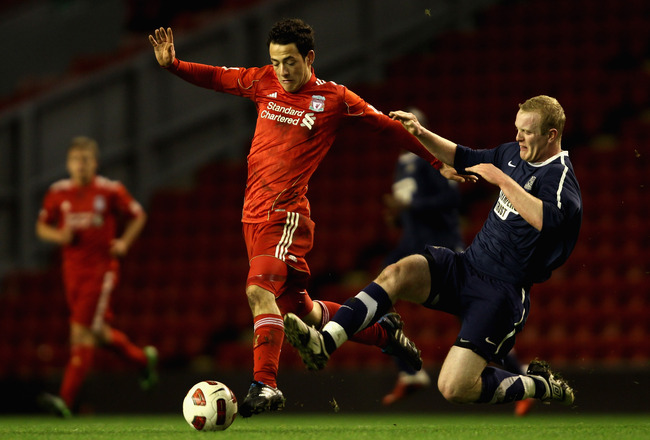 LIVERPOOL, ENGLAND - FEBRUARY 14: Krisztian Adorjan of Liverpool in action during the FA Youth Cup match between Liverpool and Southend United at Anfield on February 14, 2011 in Liverpool, England.  (Photo by Clive Brunskill/Getty Images)