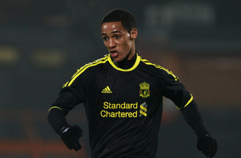 LONDON, ENGLAND - MARCH 16:  Thomas Ince of Liverpool in action during the Barclays Premier Reserve League match between Arsenal and Liverpool at the Underhill Stadium on March 16, 2011 in London, England.  (Photo by Dan Istitene/Getty Images)