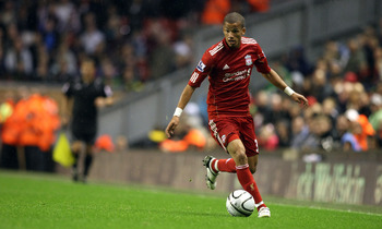 LIVERPOOL, ENGLAND - SEPTEMBER 22:  Nathan Eccleston of Liverpool in action during the Carling Cup Third Round match between Liverpool and Northampton Town at Anfield on September 22, 2010 in Liverpool, England. (Photo by Pete Norton/Getty Images)