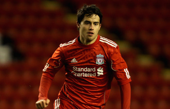 LIVERPOOL, ENGLAND - FEBRUARY 14:  Jesus Fernandez of Liverpool in action during the FA Youth Cup match between Liverpool and Southend United at Anfield on February 14, 2011 in Liverpool, England.  (Photo by Clive Brunskill/Getty Images)
