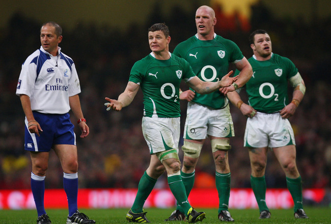 CARDIFF, WALES - MARCH 12:  Ireland captain Brian O' Driscoll (l) has words with referee Jonathan Kaplan (l) during the RBS Six Nations Championship match between Wales and Ireland at the Millennium Stadium on March 12th, 2011 in Cardiff, Wales.  (Photo b