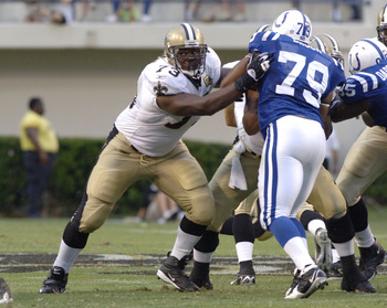 New Orleans Saints guard Jahri Evans against the Indianapolis Colts at Veterans Memorial Stadium in Jackson, Mississippi on August 26, 2006. The Colts won 27-14.  (Photo by Al Messerschmidt/Getty Images)