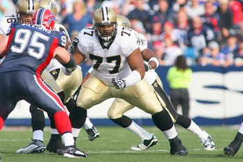 ORCHARD PARK, NY - SEPTEMBER 27:  Carl Nicks #77 of the New Orleans Saints moves on the line during the game against the Buffalo Bills at Ralph Wilson Stadium on September 27, 2009 in Orchard Park, New York. The Saints won 27-7. (Photo by Rick Stewart/Get