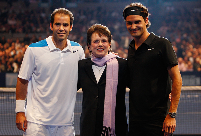 NEW YORK - MARCH 10:  (L-R) Pete Sampras, Billie Jean King and Roger Federer of Switzerland pose prior to  an exhibition match between Sampras and Federer March 10, 2008 at Madison Square Garden in New York City.  (Photo by Nick Laham/Getty Images)