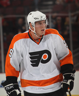 NEWARK, NJ - SEPTEMBER 28:  Mike Testwuide #39 of the Philadelphia Flyers skates against the New Jersey Devils at the Prudential Center on September 28, 2010 in Newark, New Jersey.  (Photo by Bruce Bennett/Getty Images)