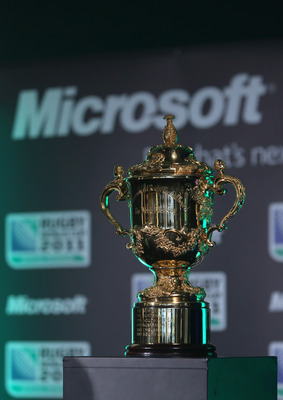 AUCKLAND, NEW ZEALAND - MARCH 29: The Webb Ellis cup pictured during a Microsoft Rugby World Cup 2011 Official Sponsors announcement at Eden Park on March 29, 2011 in Auckland, New Zealand. Microsoft announced a sponsorship package valued at more than NZ$