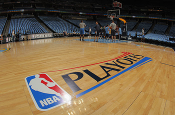 DENVER, CO - APRIL 25:  The stage is set as the Oklahoma City Thunder warm up prior to facing the Denver Nuggets in Game Four of the Western Conference Quarterfinals in the 2011 NBA Playoffs on April 25, 2011 at the Pepsi Center in Denver, Colorado. NOTE