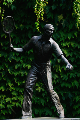 WIMBLEDON, ENGLAND - JULY 02:  A view of the Fred Perry statue on Day Ten of the Wimbledon Lawn Tennis Championships at the All England Lawn Tennis and Croquet Club on July 2, 2009 in London, England. Fred Perry was the last British player to win the men'