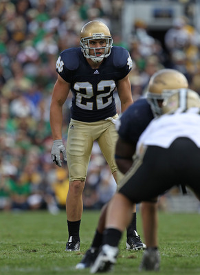 SOUTH BEND, IN - SEPTEMBER 04: Harrison Smith #22 of the Notre Dame Fighting Irish awaits the start of play against the Purdue Boilermakers at Notre Dame Stadium on September 4, 2010 in South Bend, Indiana. Notre Dame defeated Purdue 23-12. (Photo by Jona