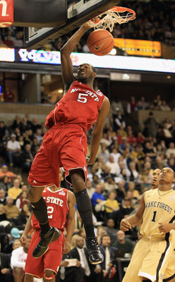 WINSTON SALEM, NC - FEBRUARY 13:  C.J. Leslie #5 of the North Carolina State Wolfpack dunks the ball against the Wake Forest Demon Deacons during their game at Lawrence Joel Coliseum on February 13, 2011 in Winston Salem, North Carolina.  (Photo by Street