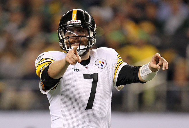 ARLINGTON, TX - FEBRUARY 06:  Ben Roethlisberger #7 of the Pittsburgh Steelers gestures before the snap during the first quarter of Super Bowl XLV at Cowboys Stadium on February 6, 2011 in Arlington, Texas.  (Photo by Jamie Squire/Getty Images)