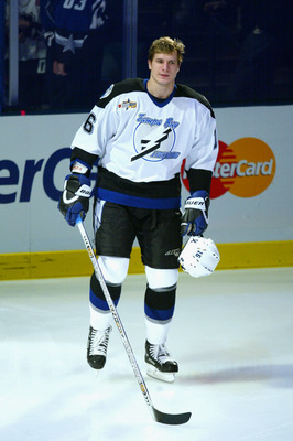 SUNRISE, FL - FEBRUARY 1:  Eastern Conference forward Alexander Svitov #16 of the Tampa Bay Lightning skates onto the ice during team introductions for the Topps YoungStars Game, part of 2003 NHL All-Star Weekend presented by Nextel, at the Office Depot C