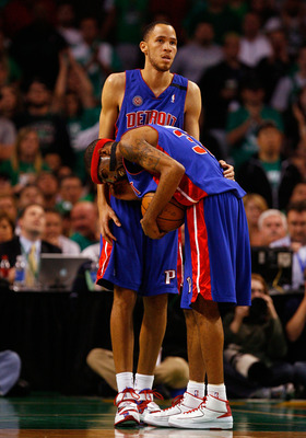 BOSTON - MAY 28:  Richard Hamilton #32 of the Detroit Pistons reacts after getting poked in the eye as Tayshaun Prince #22 look on against the Boston Celtics during Game Five of the Eastern Conference finals during the 2008 NBA Playoffs at TD Banknorth Ga