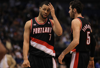 DALLAS, TX - APRIL 25:  (L-R) Brandon Roy #7 and Rudy Fernandez #5 of the Portland Trail Blazers in Game Five of the Western Conference Quarterfinals during the 2011 NBA Playoffs on April 25, 2011 at American Airlines Center in Dallas, Texas.  NOTE TO USE