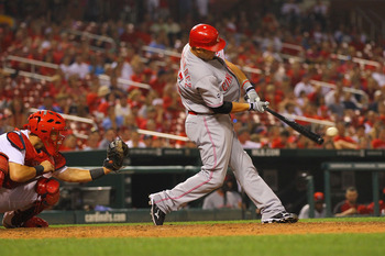ST. LOUIS, MO - JULY 6: Ramon Hernandez #55 of the Cincinnati Reds hits an RBI game-winning, ground-rule double at Busch Stadium on July 6, 2011 in St. Louis, Missouri.  (Photo by Dilip Vishwanat/Getty Images)