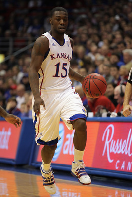 LAWRENCE, KS - DECEMBER 29:  Elijah Johnson #15 of the Kansas Jayhawks in action during the game against the University of Texas Arlington Mavericks on December 29, 2010 at Allen Fieldhouse in Lawrence, Kansas.  (Photo by Jamie Squire/Getty Images)