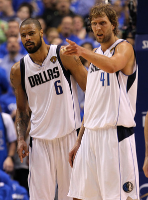 DALLAS, TX - JUNE 07:  (L-R) Tyson Chandler #6, Dirk Nowitzki #41 and Jason Kidd #2 of the Dallas Mavericks look on against the Miami Heat in Game Four of the 2011 NBA Finals at American Airlines Center on June 7, 2011 in Dallas, Texas. NOTE TO USER: User
