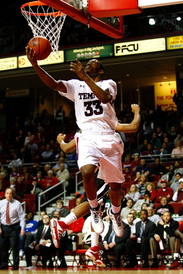 PHILADELPHIA, PA - DECEMBER 18: Scootie Randall #33 of the Temple Owls drives for a shot attempt in the second half against the Northern Illinois Huskies at the Liacouras Center on December 18, 2010 in Philadelphia, Pennsylvania. (Photo by Chris Chambers/
