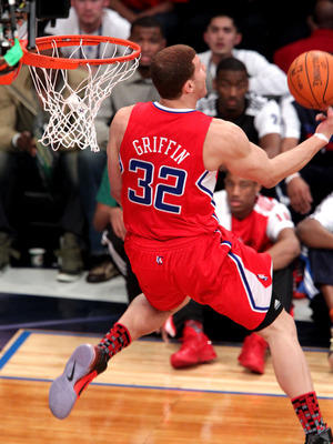 LOS ANGELES, CA - FEBRUARY 19:  NBA player for the L.A. Clippers Blake Griffin shoots for a slam dunk in the Sprite Slam Dunk Contest apart of NBA All-Star Saturday Night at Staples Center on February 19, 2011 in Los Angeles, California. NOTE TO USER: Use