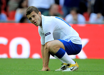 LONDON, ENGLAND - JUNE 04:  Jack Wilshere of England reacts during the UEFA EURO 2012 group G qualifying match between England and Switzerland at Wembley Stadium on June 4, 2011 in London, England.  (Photo by David Cannon/Getty Images)