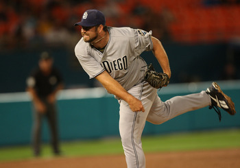 MIAMI GARDENS, FL - JULY 19: Heath Bell #21 of the San Diego Padres pitches at a game against the Flordia Marlins at Sun Life Stadium on July 19, 2011 in Miami Gardens, Florida. The Padres defeated the Marlins 4-0.  (Photo by Sarah Glenn/Getty Images)