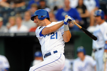KANSAS CITY, MO - JUNE 7:  Jeff Francoeur #21 of the Kansas City Royals singles to drive home Eric Hosmer in the third inning against the Toronto Blue Jays at Kauffman Stadium on June 7, 2011 in Kansas City, Missouri. (Photo by G. Newman Lowrance/Getty Im