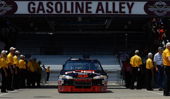 INDIANAPOLIS - JULY 23:  Clint Bowyer, driver of the #33 Wheaties Fuel Chevrolet, drives to the garage during practice for the NASCAR Sprint Cup Series Brickyard 400 at Indianapolis Motor Speedway on July 23, 2010 in Indianapolis, Indiana.  (Photo by Jaso