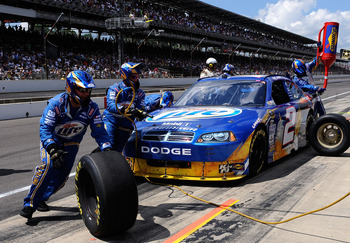 INDIANAPOLIS - JULY 25:  Kurt Busch, driver of the #2 Miller Lite/Vortex Dodge, pits during the NASCAR Sprint Cup Series Brickyard 400 at Indianapolis Motor Speedway on July 25, 2010 in Indianapolis, Indiana.  (Photo by Rusty Jarrett/Getty Images for NASC