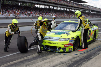 INDIANAPOLIS - JULY 25:  Paul Menard, driver of the #98 Mastercraft/Menards Ford, pits during the NASCAR Sprint Cup Series Brickyard 400 at Indianapolis Motor Speedway on July 25, 2010 in Indianapolis, Indiana.  (Photo by Jerry Markland/Getty Images for N