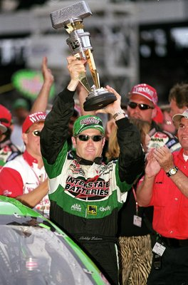 5 Aug 2000:  Bobby Labonte #18 who drives the Pontiac Grand Prix for Joe Gibbs Racing celebrates after his win during the Brickyard 400, Part of the NASCAR Winston Cup Series at the Indianapolis Motor Speedway in Indianapolis, Indiana.Mandatory Credit: Ro