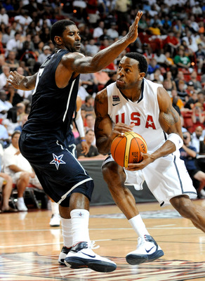 LAS VEGAS - JULY 24:  Andre Iguodala #9 (R) of the 2010 USA Basketball Men's National Team drives against O.J. Mayo #5 of the 2010 USA Basketball Men's National Team during a USA Basketball showcase at the Thomas & Mack Center on July 24, 2010 in Las Vega