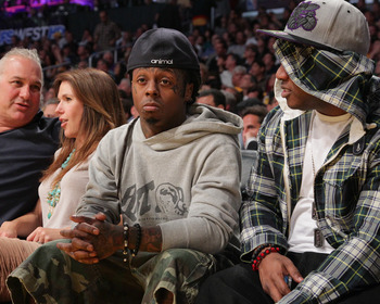 LOS ANGELES, CA - APRIL 20:  Lil Wayne attends the game between the New Orleans Hornets and the Los Angeles Lakers at Staples Center on April 20, 2011 in Los Angeles, California.  (Photo by Noel Vasquez/Getty Images)