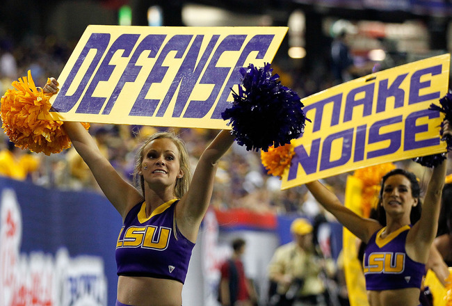 ATLANTA - SEPTEMBER 04:  The LSU Tigers cheerleaders cheer for their defense in the final minutes of their 30-24 win over the North Carolina Tar Heels during the Chick-fil-A Kickoff Game at Georgia Dome on September 4, 2010 in Atlanta, Georgia.  (Photo by