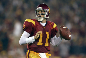 LOS ANGELES - NOVEMBER 5:  Quarterback Matt Leinart #11 of the USC Trojans drops back to pass against the Stanford Cardinal during the second quarter of the game at the Los Angeles Memorial Coliseum on November 5, 2005 in Los Angeles, California.  (Photo