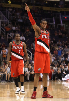 PHOENIX - DECEMBER 10:  LaMarcus Aldridge #12 of the Portland Trail Blazers reacts during the NBA game against the Phoenix Suns at US Airways Center on December 10, 2010 in Phoenix, Arizona. The Trail Blazers defeated the Suns 101-94. NOTE TO USER: User e