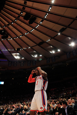 NEW YORK, NY - MARCH 30:  Amar'e Stoudemire #1 of the New York Knicks on the court against the New Jersey Nets at Madison Square Garden on March 30, 2011 in New York City. NOTE TO USER: User expressly acknowledges and agrees that, by downloading and/or us