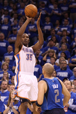 OKLAHOMA CITY, OK - MAY 21:  Kevin Durant #35 of the Oklahoma City Thunder shoots over Jason Kidd #2 of the Dallas Mavericks in Game Three of the Western Conference Finals during the 2011 NBA Playoffs at Oklahoma City Arena on May 21, 2011 in Oklahoma Cit