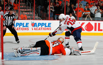 PHILADELPHIA, PA - MARCH 22:  Matt Hendricks #26 of the Washington Capitals scores against goalie Brian Boucher #33 of the Philadelphia Flyers during the shootout in an NHL hockey game at the Wells Fargo Center on March 22, 2011 in Philadelphia, Pennsylva