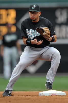 PHILADELPHIA, PA - JUNE 16: Omar Infante #13 of the Florida Marlins catches the ball at second base on a double play during the game against the Philadelphia Phillies at Citizens Bank Park on June 16, 2011 in Philadelphia, Pennsylvania. The Phillies won 3