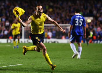 LONDON, ENGLAND - MAY 06:  Andres Iniesta of Barcelona celebrates scoring in the final minutes during the UEFA Champions League Semi Final Second Leg match between Chelsea and Barcelona at Stamford Bridge on May 6, 2009 in London, England.  (Photo by Jami