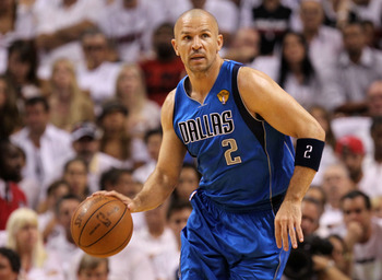 MIAMI, FL - JUNE 02:  Jason Kidd #2 of the Dallas Mavericks moves the ball while taking on the Miami Heat in Game Two of the 2011 NBA Finals at American Airlines Arena on June 2, 2011 in Miami, Florida. NOTE TO USER: User expressly acknowledges and agrees
