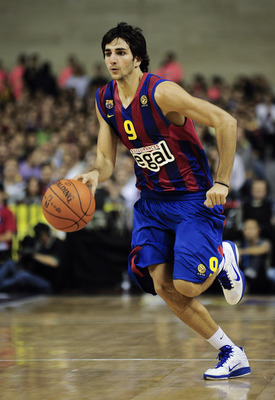 BARCELONA, SPAIN - OCTOBER 07:  Ricky Rubio #9 of the Regal FC Barcelona in action during the NBA Europe Live match between Los Angeles Lakers and Regal FC Barcelona at the at Palau Blaugrana on October 7, 2010 in Barcelona, Spain.  (Photo by David Ramos/