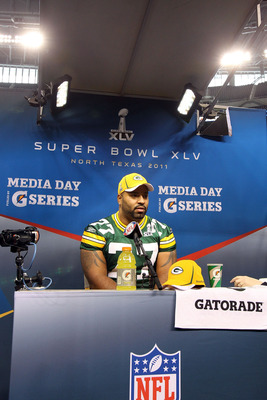 ARLINGTON, TX - FEBRUARY 01:  Cullen Jenkins #77 of the Green Bay Packers addresses the media during Super Bowl XLV Media Day ahead of Super Bowl XLV at Cowboys Stadium on February 1, 2011 in Arlington, Texas. The Pittsburgh Steelers will play the Green B