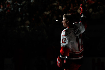 RALEIGH, NC - JANUARY 29:  Eric Staal #12 of the Carolina Hurricanes is introduced during the Honda NHL SuperSkills competition part of 2011 NHL All-Star Weekend at the RBC Center on January 29, 2011 in Raleigh, North Carolina.  (Photo by Kevin C. Cox/Get