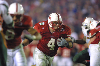 3 Jan 2002:   Nebraska fullback Judd Davies #4 carries the ball on his way to a touchdown during the Rose Bowl National Championship Game versus Miami at the Rose Bowl in Pasadena, California.  Miami won 37-14.  DIGITAL IMAGE    Mandatory Credit:  Stephen